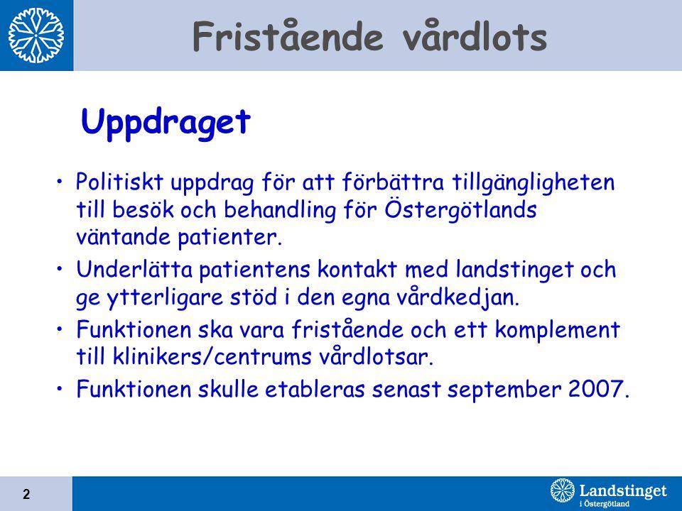 Fristående vårdlots 2 Politiskt uppdrag för att förbättra tillgängligheten till besök och behandling för Östergötlands väntande patienter. Underlätta