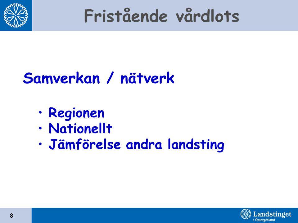 Fristående vårdlots 8 Samverkan / nätverk Regionen Nationellt Jämförelse andra landsting