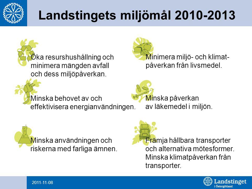 2011-11-08 Landstingets miljömål – tre verktyg Ställa miljö- och klimatkrav i enlighet med landstingets miljömål vid upphandling och vid inköp.