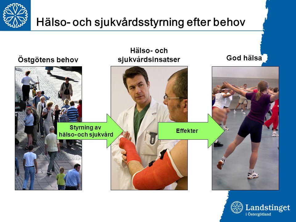 Styrning av hälso- och sjukvård Effekter Östgötens behov Hälso- och sjukvårdsinsatser God hälsa Hälso- och sjukvårdsstyrning efter behov
