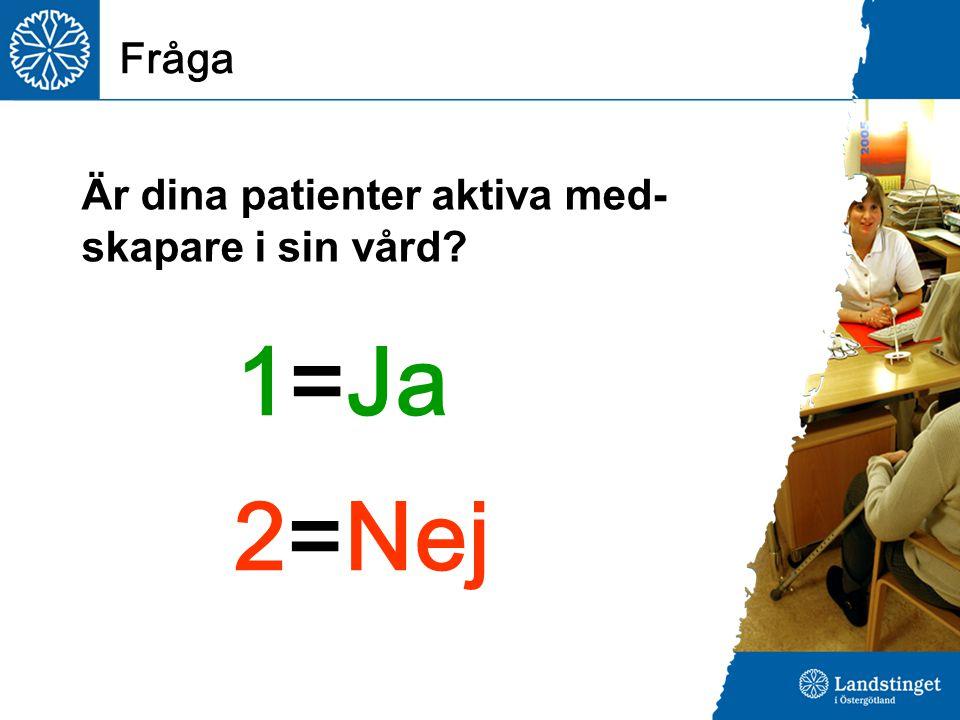 Fråga 1=Ja 2=Nej Är dina patienter aktiva med- skapare i sin vård?