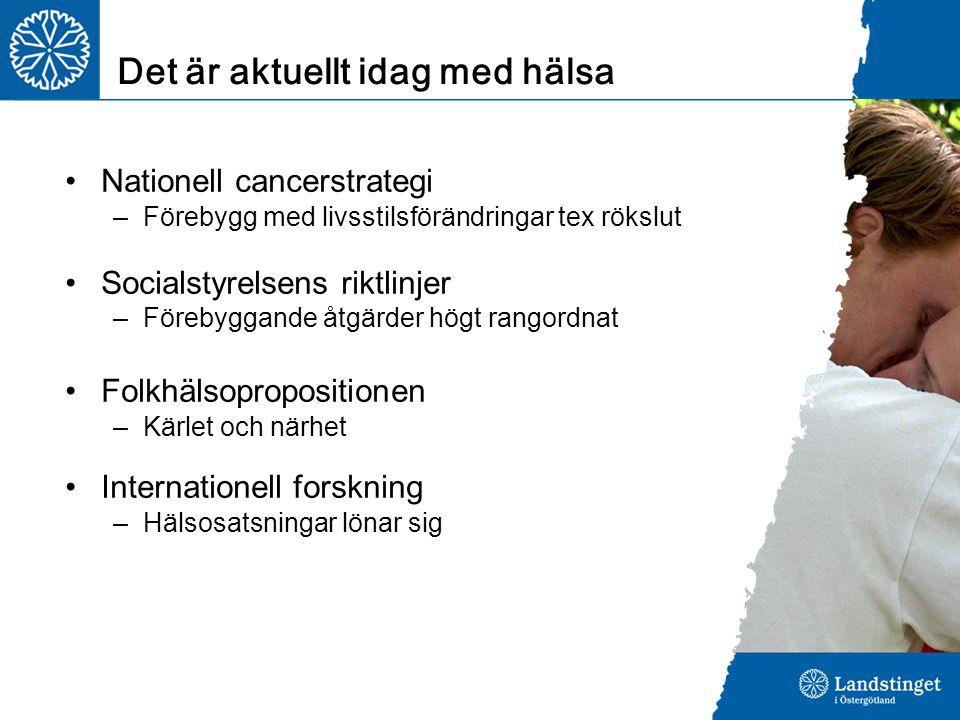Nationell cancerstrategi –Förebygg med livsstilsförändringar tex rökslut Socialstyrelsens riktlinjer –Förebyggande åtgärder högt rangordnat Folkhälsop