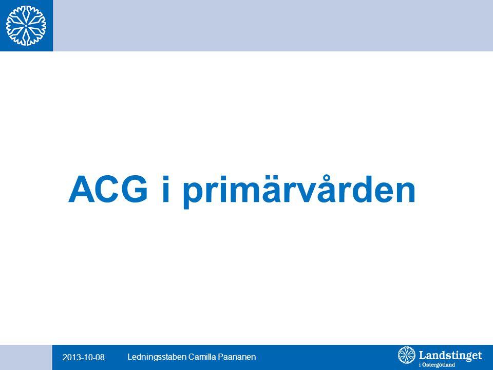 ACG i primärvården 2013-10-08 Ledningsstaben Camilla Paananen