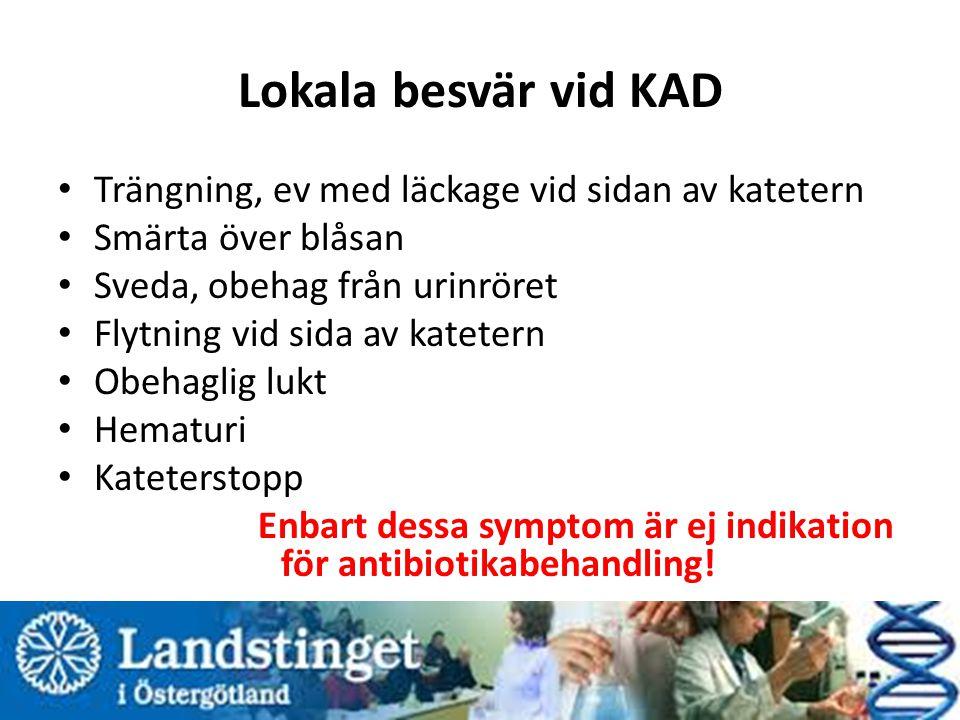 Lokala besvär vid KAD Trängning, ev med läckage vid sidan av katetern Smärta över blåsan Sveda, obehag från urinröret Flytning vid sida av katetern Ob