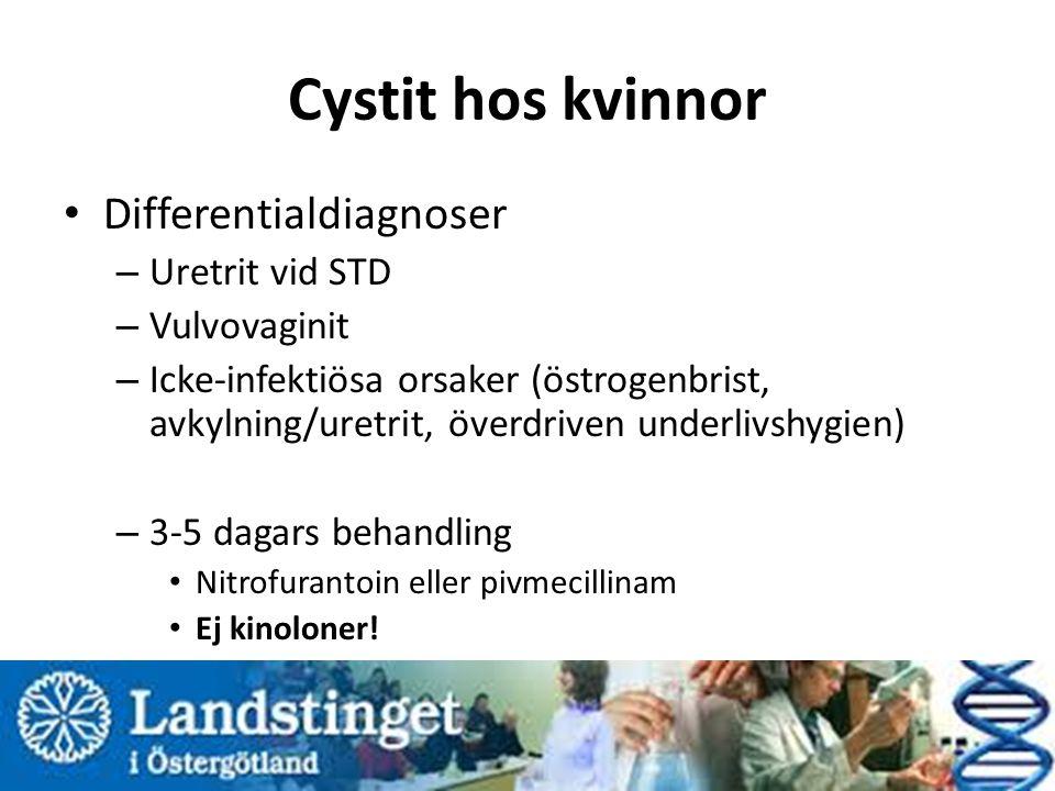 Cystit hos kvinnor Differentialdiagnoser – Uretrit vid STD – Vulvovaginit – Icke-infektiösa orsaker (östrogenbrist, avkylning/uretrit, överdriven unde