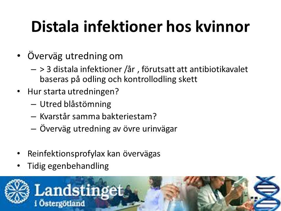 Distala infektioner hos kvinnor Överväg utredning om – > 3 distala infektioner /år, förutsatt att antibiotikavalet baseras på odling och kontrollodling skett Hur starta utredningen.