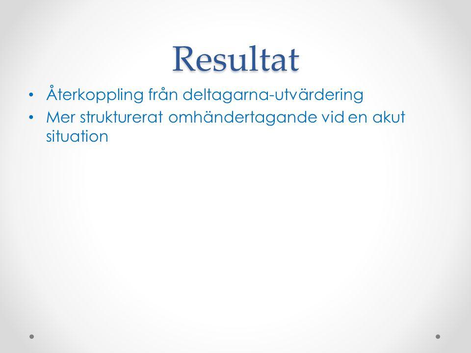 Resultat Återkoppling från deltagarna-utvärdering Mer strukturerat omhändertagande vid en akut situation