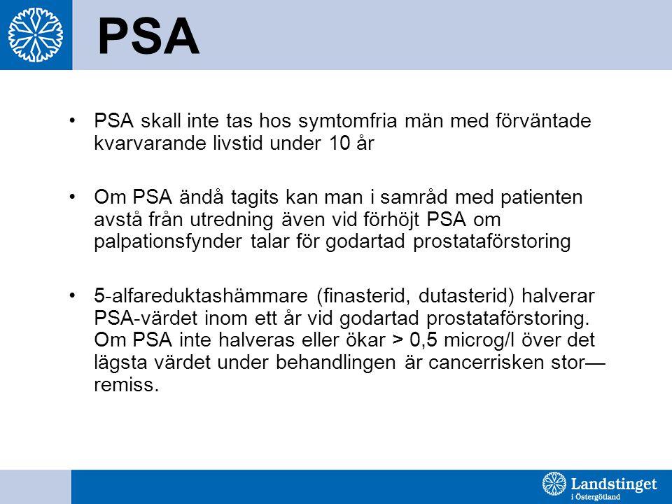 PSA PSA skall inte tas hos symtomfria män med förväntade kvarvarande livstid under 10 år Om PSA ändå tagits kan man i samråd med patienten avstå från