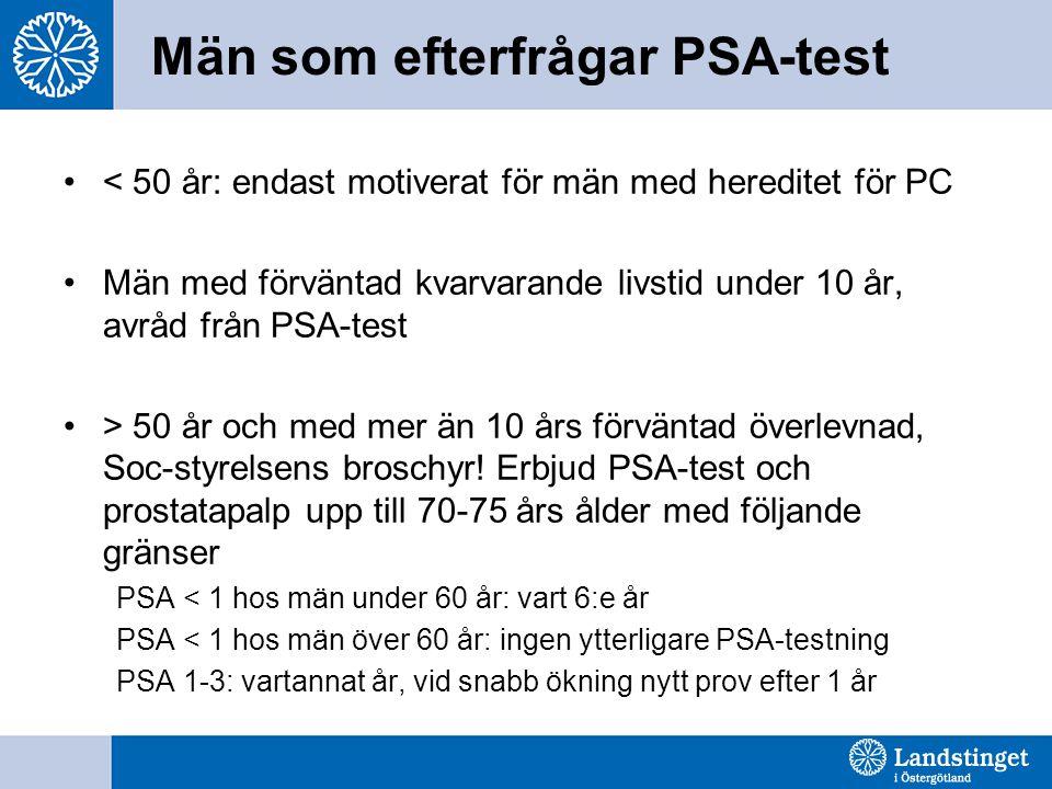 Män som efterfrågar PSA-test < 50 år: endast motiverat för män med hereditet för PC Män med förväntad kvarvarande livstid under 10 år, avråd från PSA-