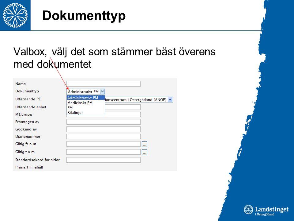 Dokumenttyp Valbox, välj det som stämmer bäst överens med dokumentet