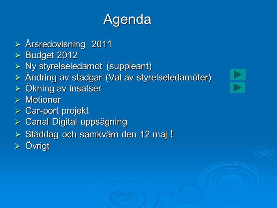 Agenda Agenda  Årsredovisning 2011  Budget 2012  Ny styrelseledamot (suppleant)  Ändring av stadgar (Val av styrelseledamöter)  Ökning av insatser  Motioner  Car-port projekt  Canal Digital uppsägning  Städdag och samkväm den 12 maj .