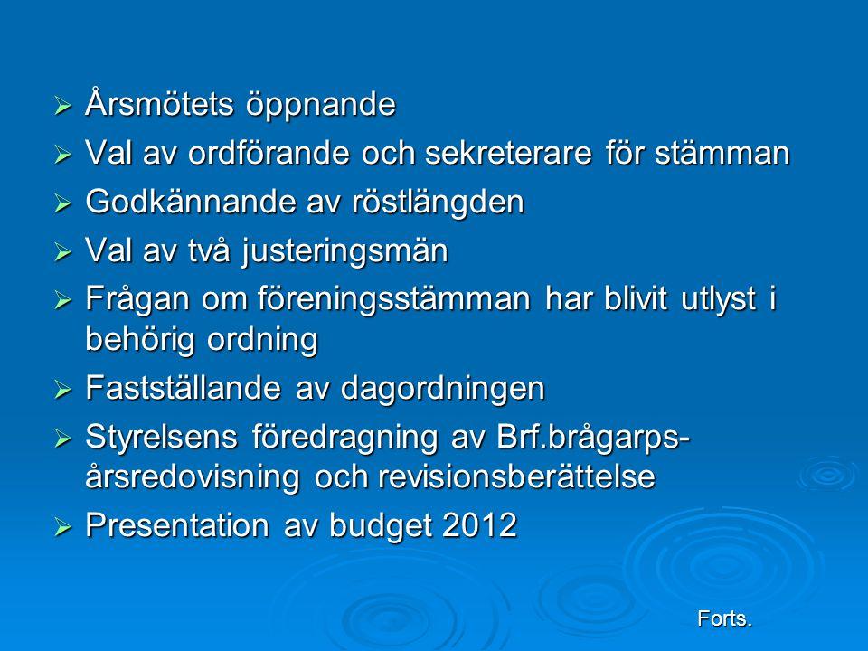  Årsmötets öppnande  Val av ordförande och sekreterare för stämman  Godkännande av röstlängden  Val av två justeringsmän  Frågan om föreningsstämman har blivit utlyst i behörig ordning  Fastställande av dagordningen  Styrelsens föredragning av Brf.brågarps- årsredovisning och revisionsberättelse  Presentation av budget 2012 Forts.
