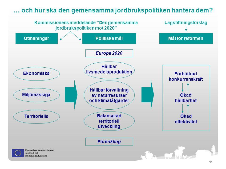 11 … och hur ska den gemensamma jordbrukspolitiken hantera dem? Utmaningar Miljömässiga Politiska mål Ekonomiska Territoriella Mål för reformen Ökad h