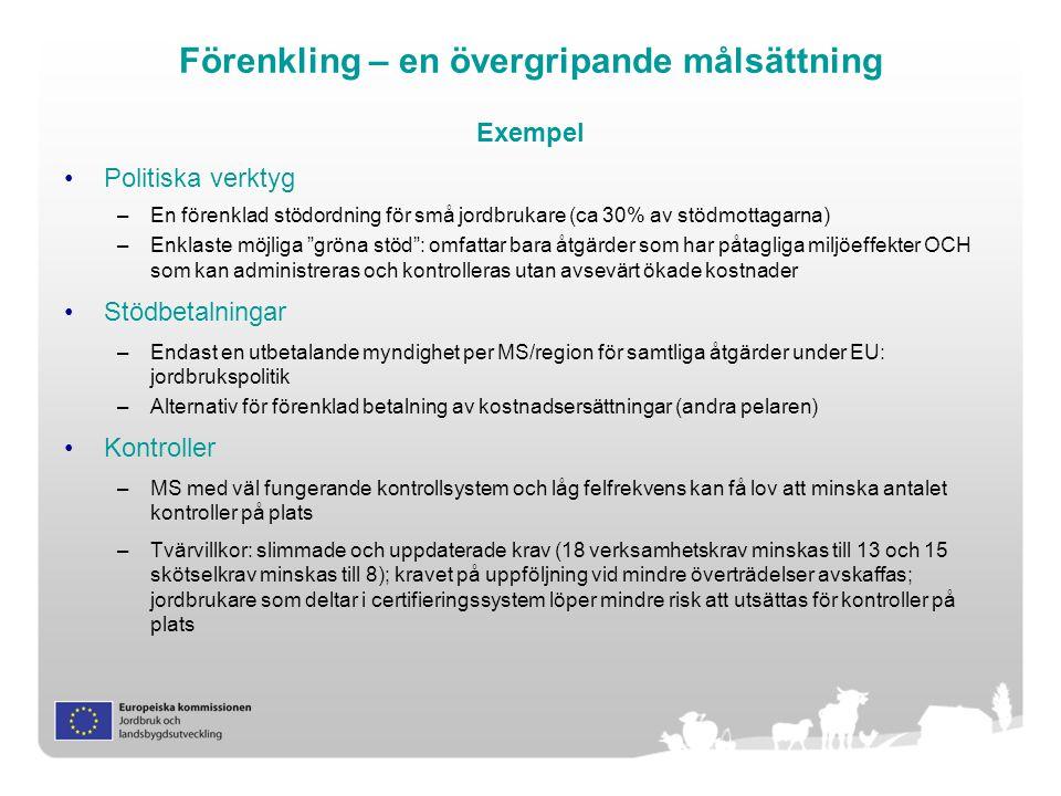 Förenkling – en övergripande målsättning Exempel Politiska verktyg –En förenklad stödordning för små jordbrukare (ca 30% av stödmottagarna) –Enklaste