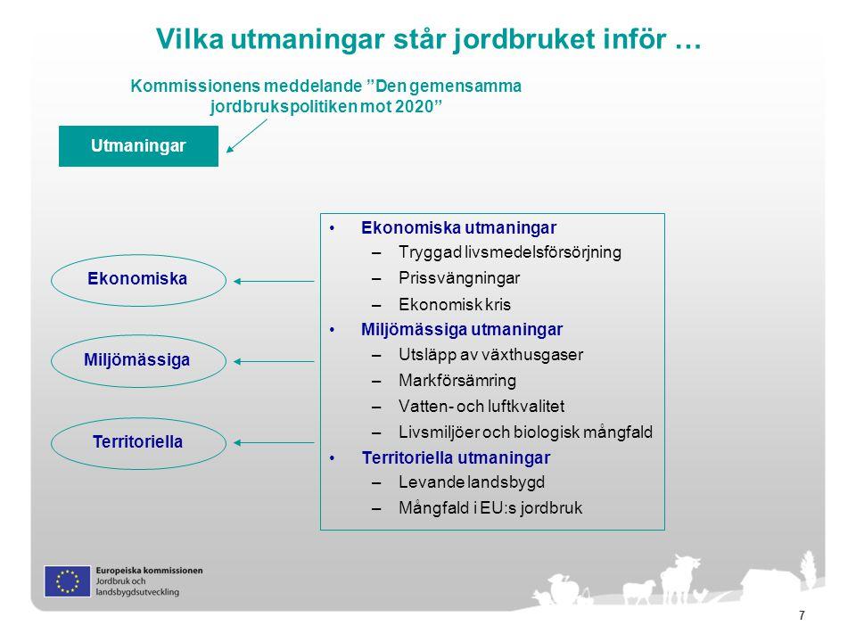 18 Landsbygdsutveckling i ny ram (1) Gemensam Strategisk Ram (CSF) Fonden för landsbygdsutveckling, regionala utvecklingsfonden, sammanhållningsfonden, socialfonden samt havs- och fiskerifonden – speglar Europa 2020 via gemensamma tematiska mål att uppnå genom nyckelåtgärder i varje fond Partnerskapsavtal – nationellt dokument som kartlägger hur fonderna ska avvändas för att uppnå målen för Europa 2020 Landsbygdsutveckling EJFLU Övriga CSF fonder (regionala utvecklingsfonden, sammanhållningsfonden, socialfonden, havs- och fiskerifonden ) Program för landsbygdsutveckling Europa 2020-s Främja social delaktighet, fattigdoms- minskning och ekonomisk utveckling på landsbygden Konkurrens- och bärkraft för alla typer av jordbruk Främja organisation av livsmedels- kedjan och riskhantering I jordbruket Återställa, bevara och förbättra ekosystemen Främja resurseffektivitet och övergången till en koldioxidsnål och klimattålig ekonomi Kunskapsöverföring och Innovation inom jordbruk och skogsbruk Prioriteringar Innovation, miljö och klimat är övergripande teman