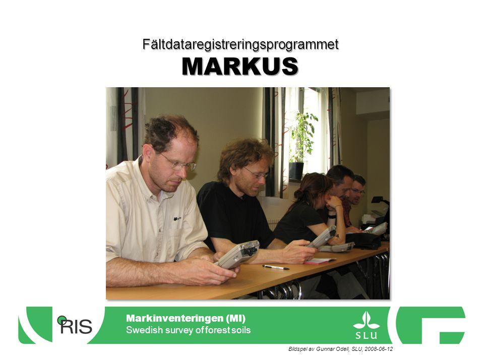 Markinventeringen (MI) Swedish survey of forest soils Menyer – Hänglav Översiktlig markinventering (ÖMI) Förekomst Bottentäckning Fälttäckning Gropläge Humus Jordmån Mineraljordsprov Gropanm.