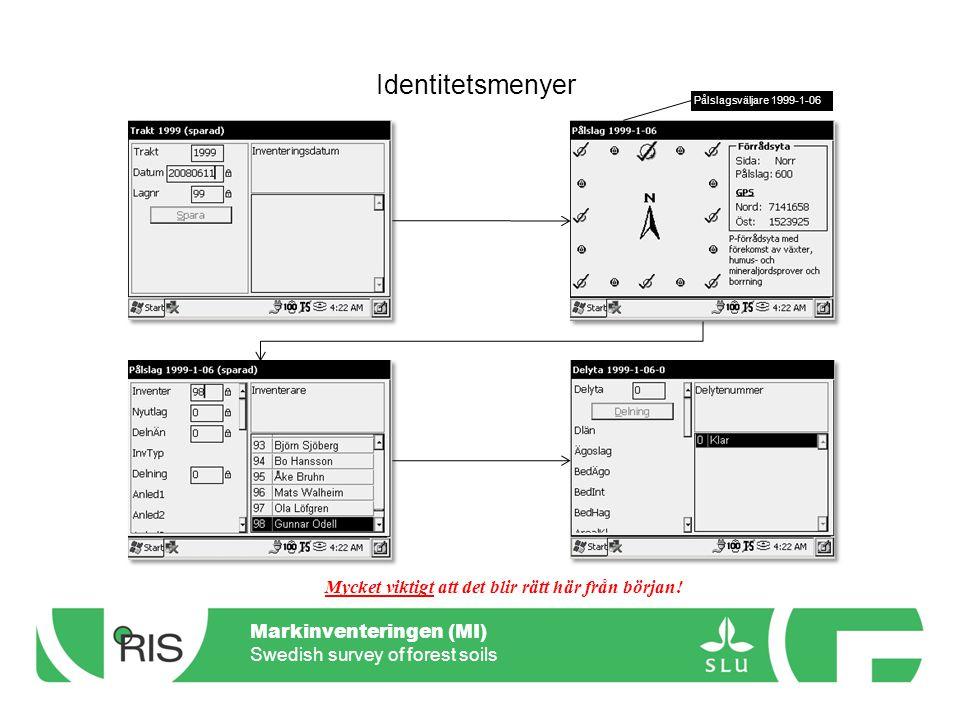 Markinventeringen (MI) Swedish survey of forest soils Menyer – Gropanm.