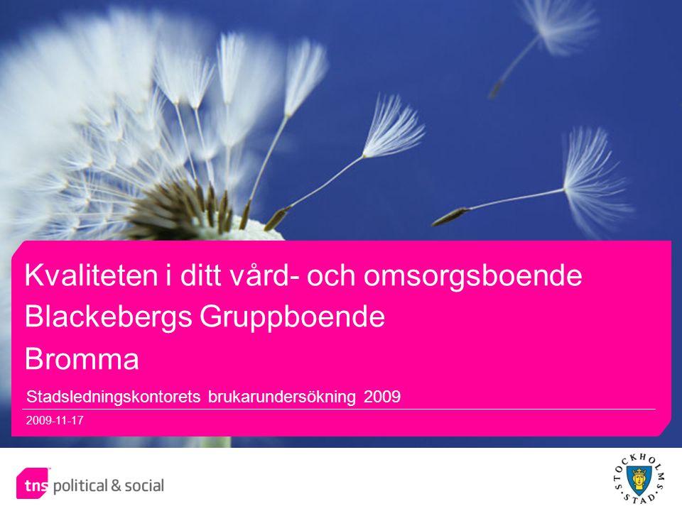 11 Kvaliteten i ditt vård- och omsorgsboende Stadsledningskontorets brukarundersökning 2009 2009-11-17 Blackebergs Gruppboende Bromma