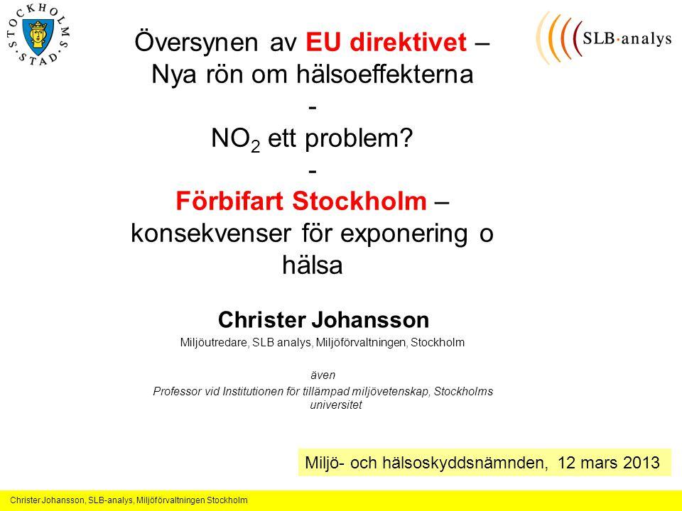 Christer Johansson, SLB-analys, Miljöförvaltningen Stockholm Översynen av EU direktivet – Nya rön om hälsoeffekterna - NO 2 ett problem.