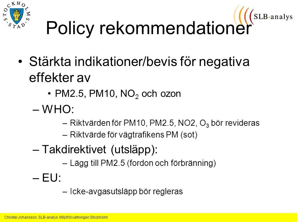 Christer Johansson, SLB-analys, Miljöförvaltningen Stockholm Policy rekommendationer Stärkta indikationer/bevis för negativa effekter av PM2.5, PM10, NO 2 och ozon –WHO: –Riktvärden för PM10, PM2.5, NO2, O 3 bör revideras –Riktvärde för vägtrafikens PM (sot) –Takdirektivet (utsläpp): –Lägg till PM2.5 (fordon och förbränning) –EU: –Icke-avgasutsläpp bör regleras