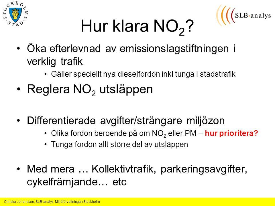 Christer Johansson, SLB-analys, Miljöförvaltningen Stockholm Hur klara NO 2 .