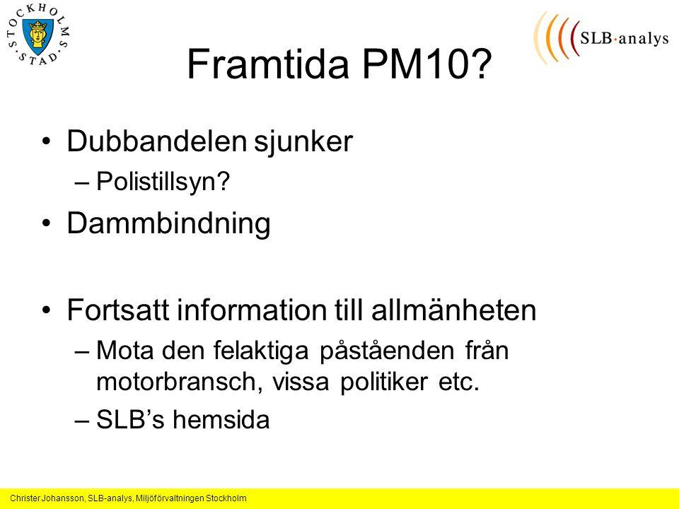 Christer Johansson, SLB-analys, Miljöförvaltningen Stockholm Framtida PM10.