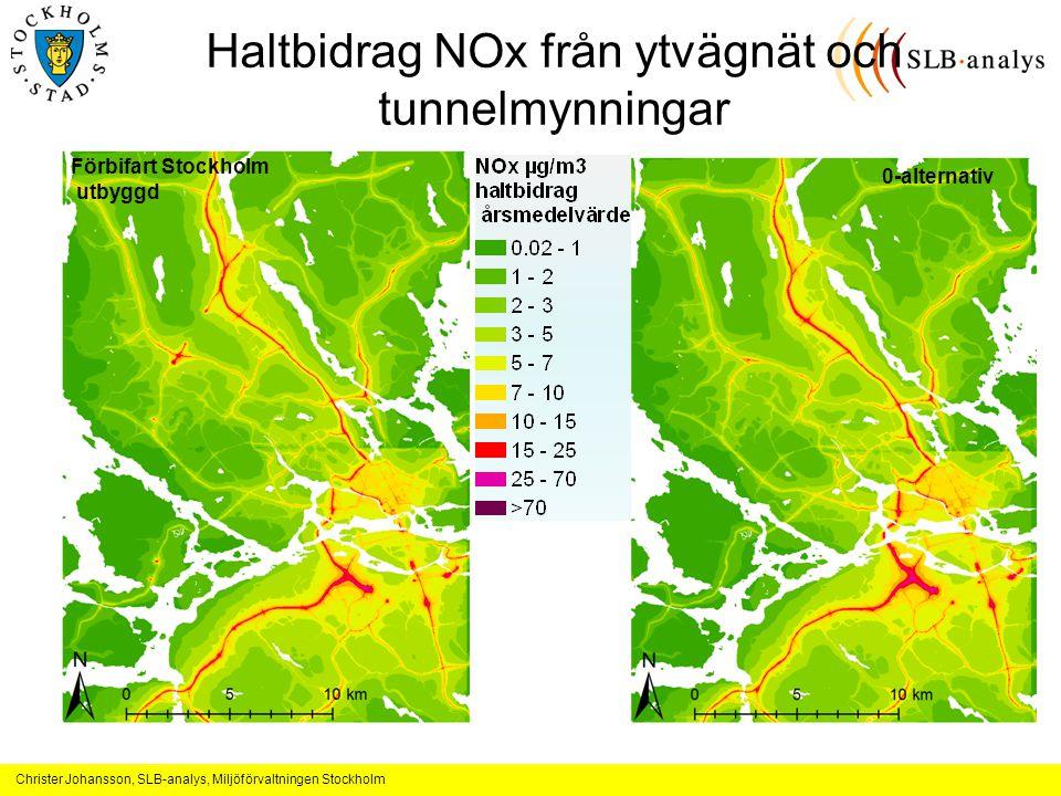 Christer Johansson, SLB-analys, Miljöförvaltningen Stockholm Haltbidrag NOx från ytvägnät och tunnelmynningar Förbifart Stockholm utbyggd 0-alternativ