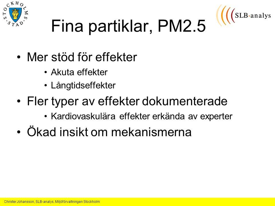 Christer Johansson, SLB-analys, Miljöförvaltningen Stockholm Fina partiklar, PM2.5 Mer stöd för effekter Akuta effekter Långtidseffekter Fler typer av effekter dokumenterade Kardiovaskulära effekter erkända av experter Ökad insikt om mekanismerna