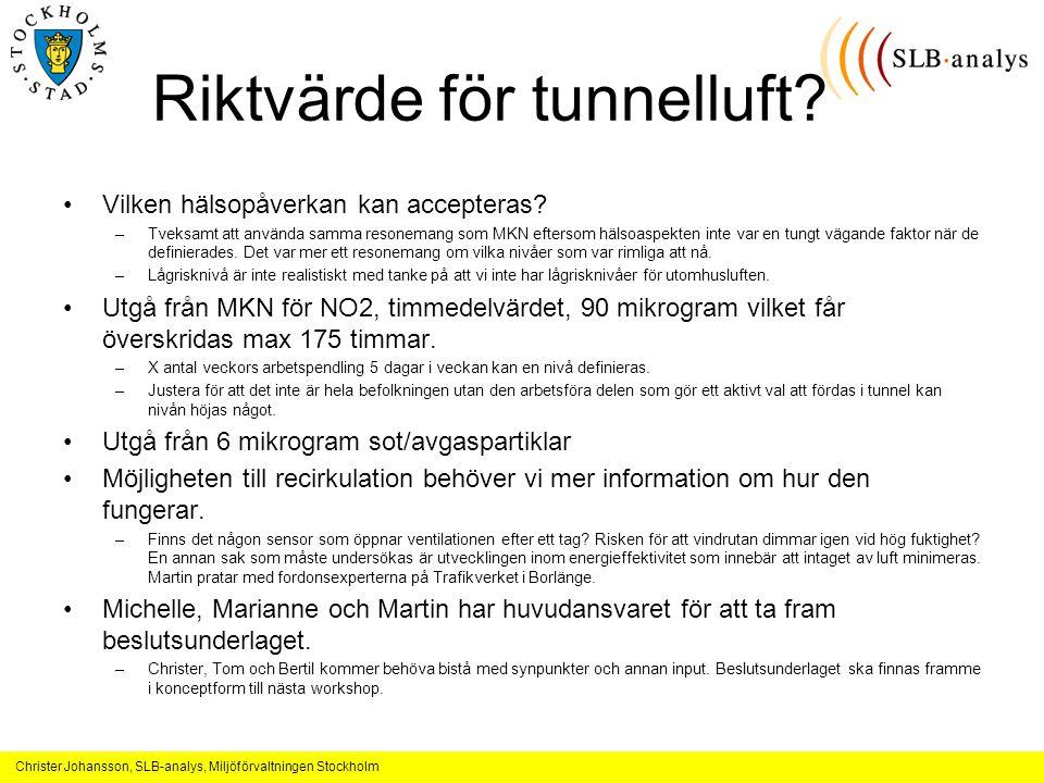 Christer Johansson, SLB-analys, Miljöförvaltningen Stockholm Riktvärde för tunnelluft.