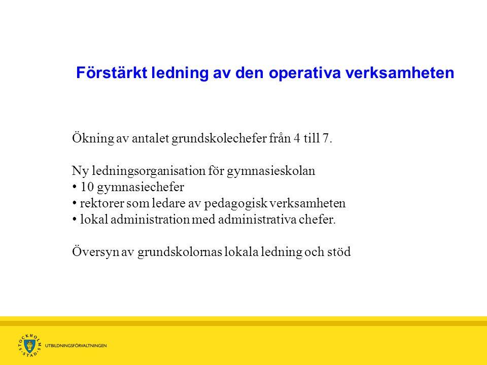 FC Tillhandahållar avd Planering Resursfördelning Uppföljning FoU IKT Grundskole avd 7 Grundskole- Områden c 120 skolenh.