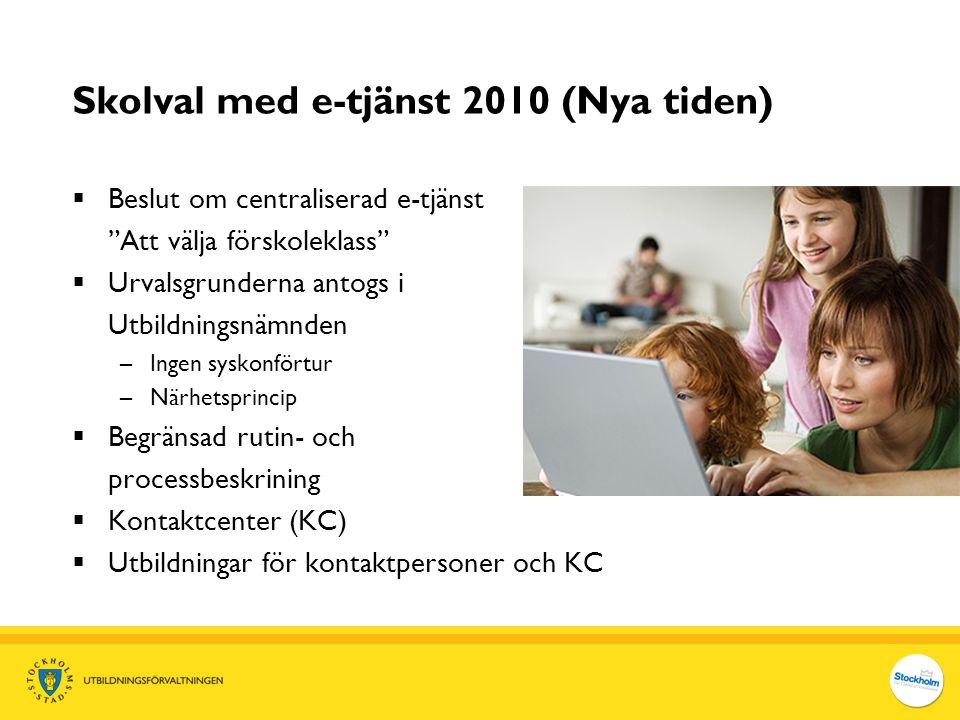 """Skolval med e-tjänst 2010 (Nya tiden)  Beslut om centraliserad e-tjänst """"Att välja förskoleklass""""  Urvalsgrunderna antogs i Utbildningsnämnden –Inge"""
