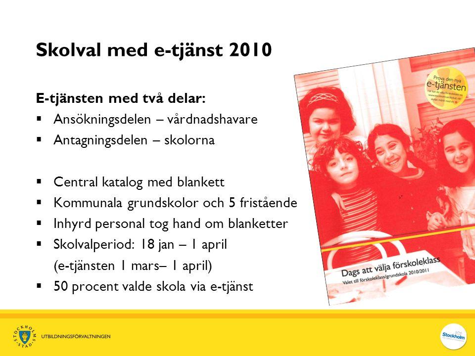 Skolval med e-tjänst 2010 E-tjänsten med två delar:  Ansökningsdelen – vårdnadshavare  Antagningsdelen – skolorna  Central katalog med blankett  K