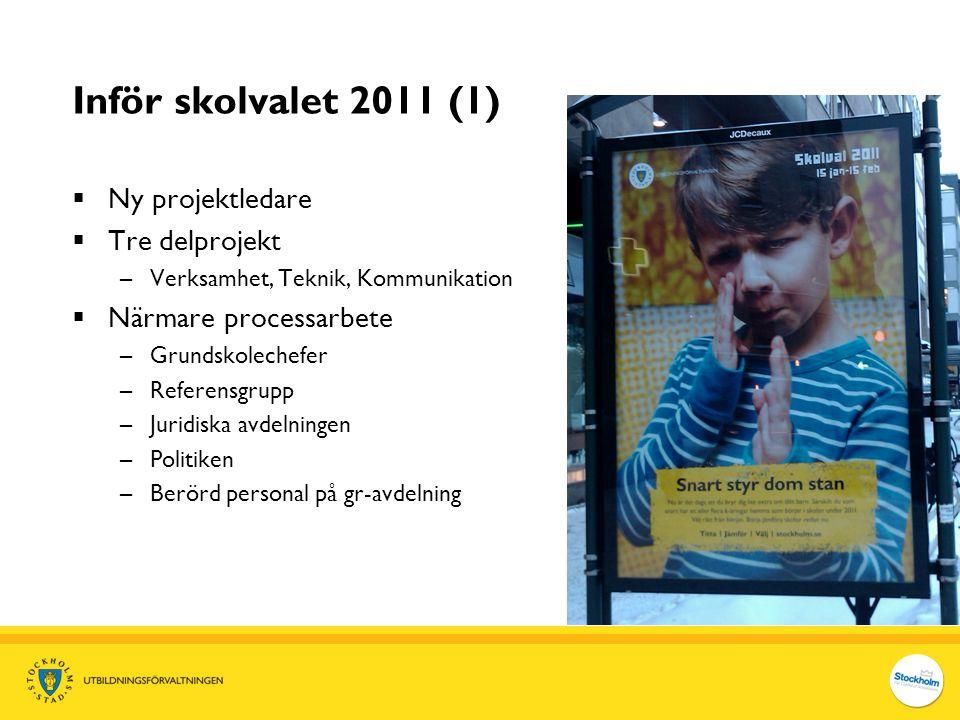 Inför skolvalet 2011 (1)  Ny projektledare  Tre delprojekt –Verksamhet, Teknik, Kommunikation  Närmare processarbete –Grundskolechefer –Referensgru