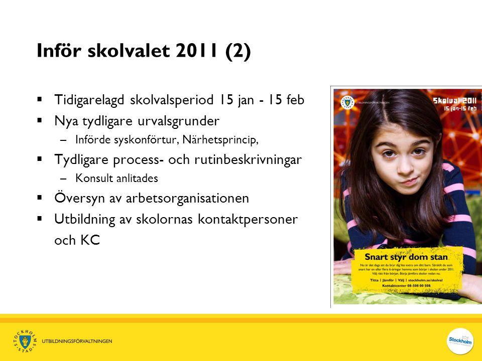 Inför skolvalet 2011 (2)  Tidigarelagd skolvalsperiod 15 jan - 15 feb  Nya tydligare urvalsgrunder –Införde syskonförtur, Närhetsprincip,  Tydligar