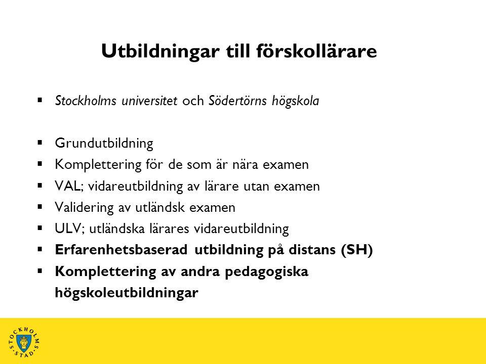 Karriärstege Stockholms stads stöd till kompetensutveckling  Utbildning till barnskötare  Fördjupning för barnskötare  Barnskötare till förskollärare  Komplettera till förskollärare  Magisterutbildning  Licenciat