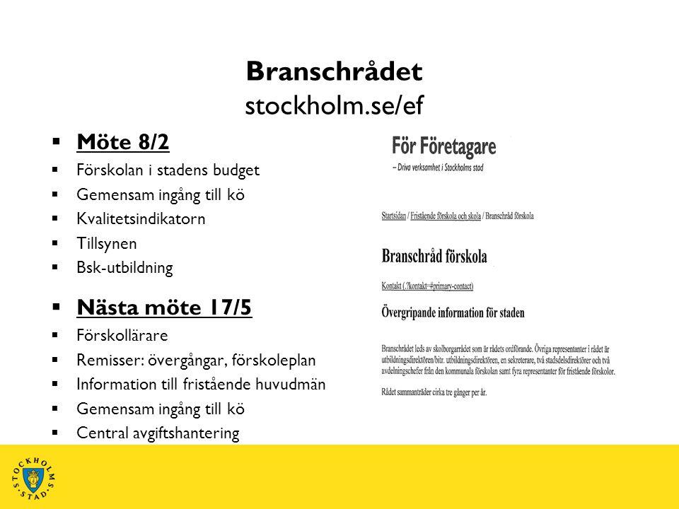 Branschrådet stockholm.se/ef  Möte 8/2  Förskolan i stadens budget  Gemensam ingång till kö  Kvalitetsindikatorn  Tillsynen  Bsk-utbildning  Nä