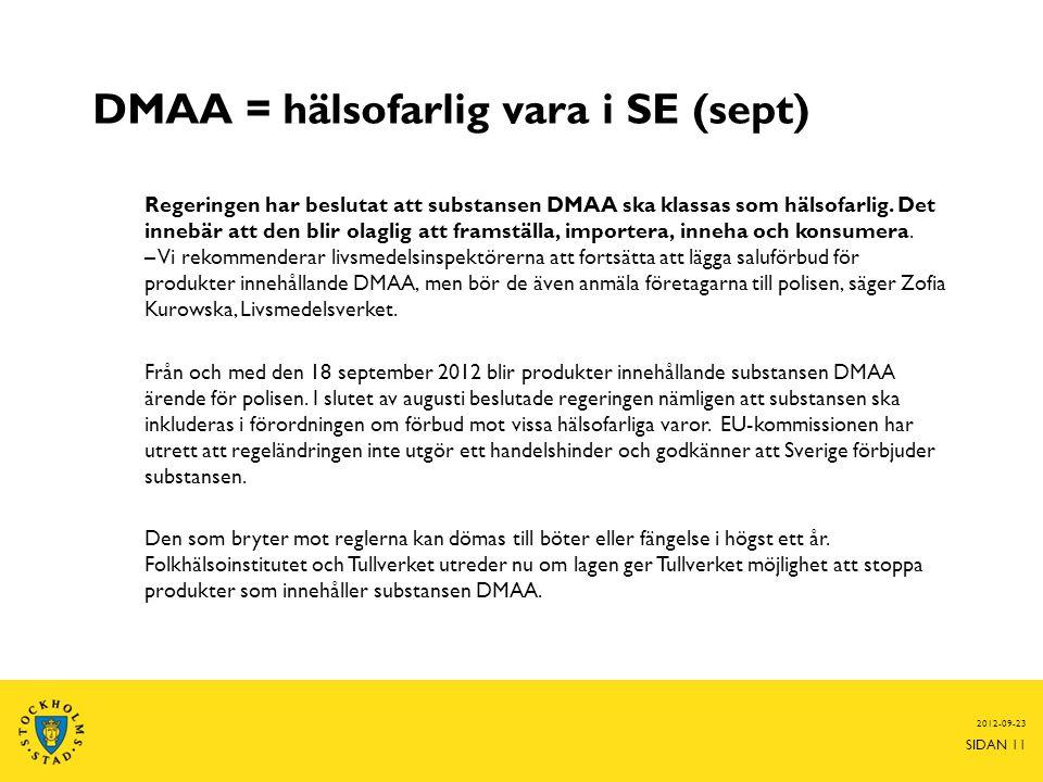 DMAA = hälsofarlig vara i SE (sept) Regeringen har beslutat att substansen DMAA ska klassas som hälsofarlig.