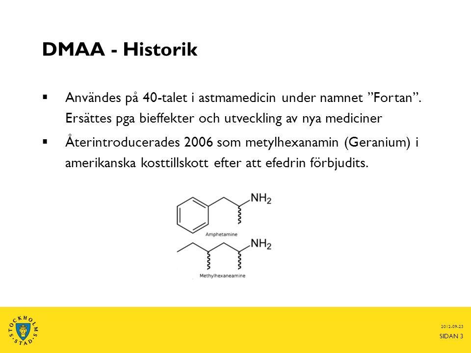 DMAA - Historik  Användes på 40-talet i astmamedicin under namnet Fortan .