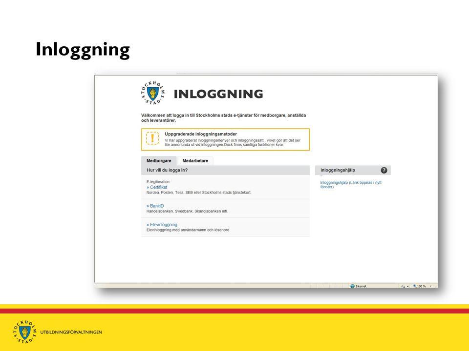 Förutsättningar för inloggning  Att du är vårdnadshavare till barn i en kommunal grundskola i Stockholms stad  Du har fungerande e-legitimation/BankID  Att din webbläsare är korrekt inställd