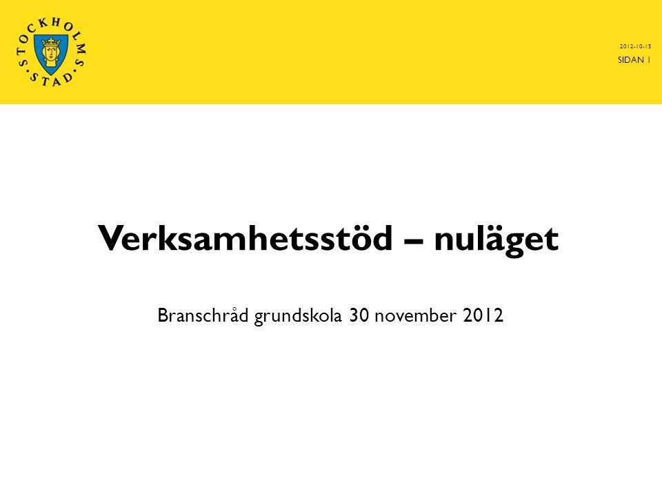 Verksamhetsstöd – nuläget Branschråd grundskola 30 november 2012 2012-10-15 SIDAN 1