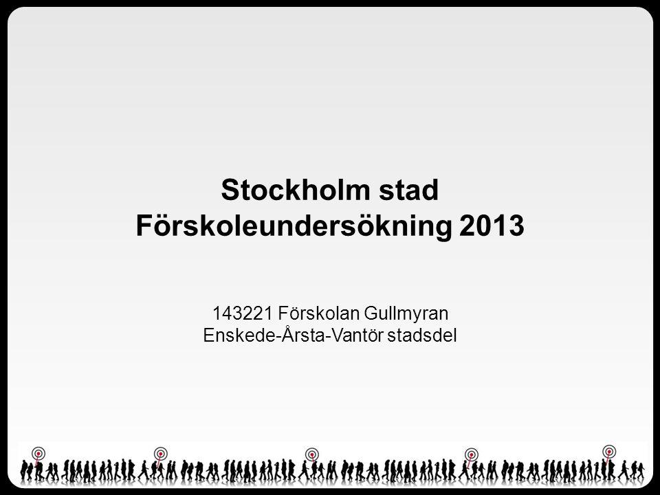 Stockholm stad Förskoleundersökning 2013 143221 Förskolan Gullmyran Enskede-Årsta-Vantör stadsdel