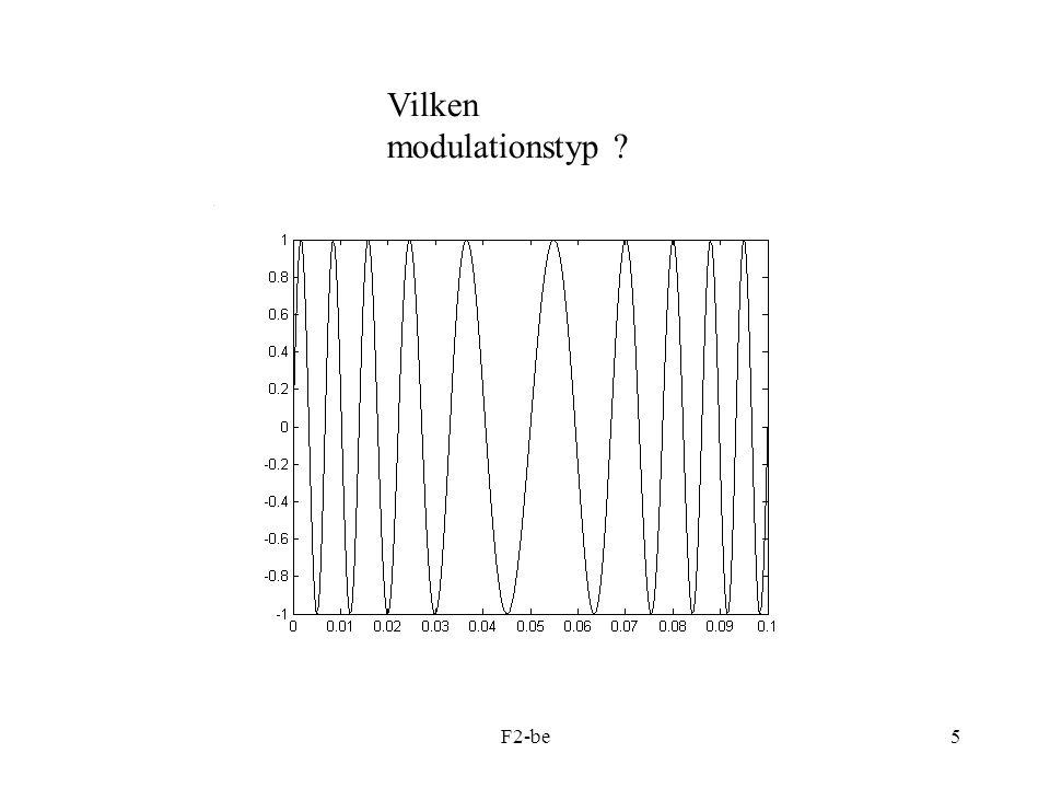 F2-be16 Ett MATLAB-exempel, AM-modulering: %AM_2.m t=0:0.001:5; fc=20; Ac=2; %Carrier: sc=Ac*cos(2*pi*fc*t); fm1=1;fm2=2.4; %Message: m=cos(2*pi*fm1*t)+0.7*cos(2*pi*fm2*t); %Moduleringsgrad ny=0.5; %AM-signalen sam=(1+ny*m).*sc; xlabel( Tid [s] ); %Frekvensplanet: subplot(2,1,2) %Funktionsanrop my_demod(sam,fc,1/0.001); xlabel( Frekvens [Hz] ); %my_demod.m function demod(x,fc,fs) % X = in-data-vektor %Fc = bärfrekvens % Fs = samplingsfrekvens N=length(x); dt=1/fs; t=0:dt:(N-1)*dt; %Demodulera xde=x.*cos(2*pi*fc*t); subplot(2,1,1); plot(t,xde, k ); xlabel( Tid [s] ); y=abs(fft(xde)); y=y/(N/4);%Skalning y(1)=0;%Remove DC-level df=fs/N; f=0:df:((N/2)-1)*df; subplot(2,1,2) stem(f,y(1:(N/2)), k , filled ); xlabel( Frekvens [Hz] ); grid