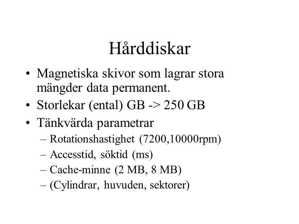 Hårddiskar Magnetiska skivor som lagrar stora mängder data permanent. Storlekar (ental) GB -> 250 GB Tänkvärda parametrar –Rotationshastighet (7200,10