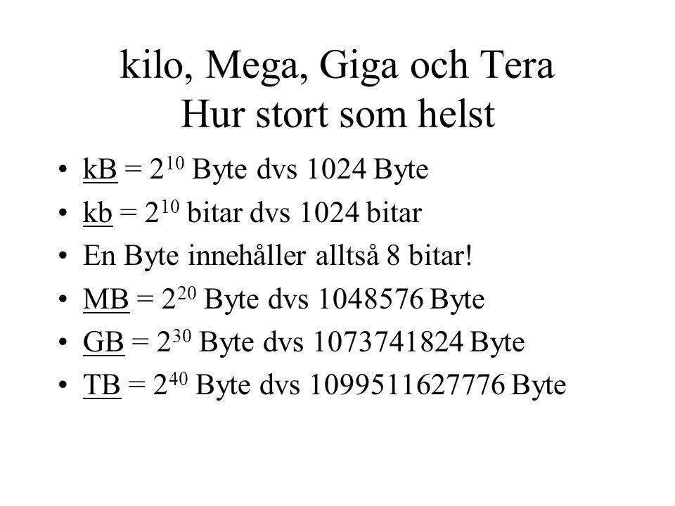 kilo, Mega, Giga och Tera Hur stort som helst kB = 2 10 Byte dvs 1024 Byte kb = 2 10 bitar dvs 1024 bitar En Byte innehåller alltså 8 bitar! MB = 2 20