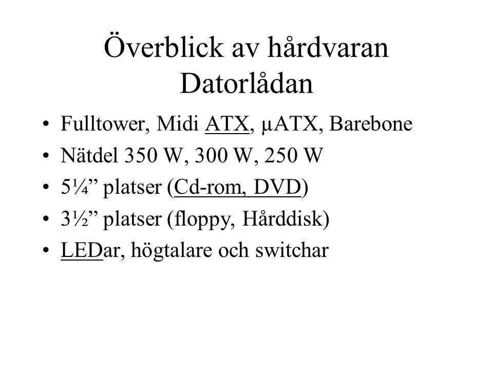 Moderkortet Fysisk utformning enligt olika standarder (AT, ATX,µATX) –ATX vanligast µATX på lab Socket, bestämmer vilken processor som kan anslutas –Socket A (AMD) –Socket 478 (Intel)