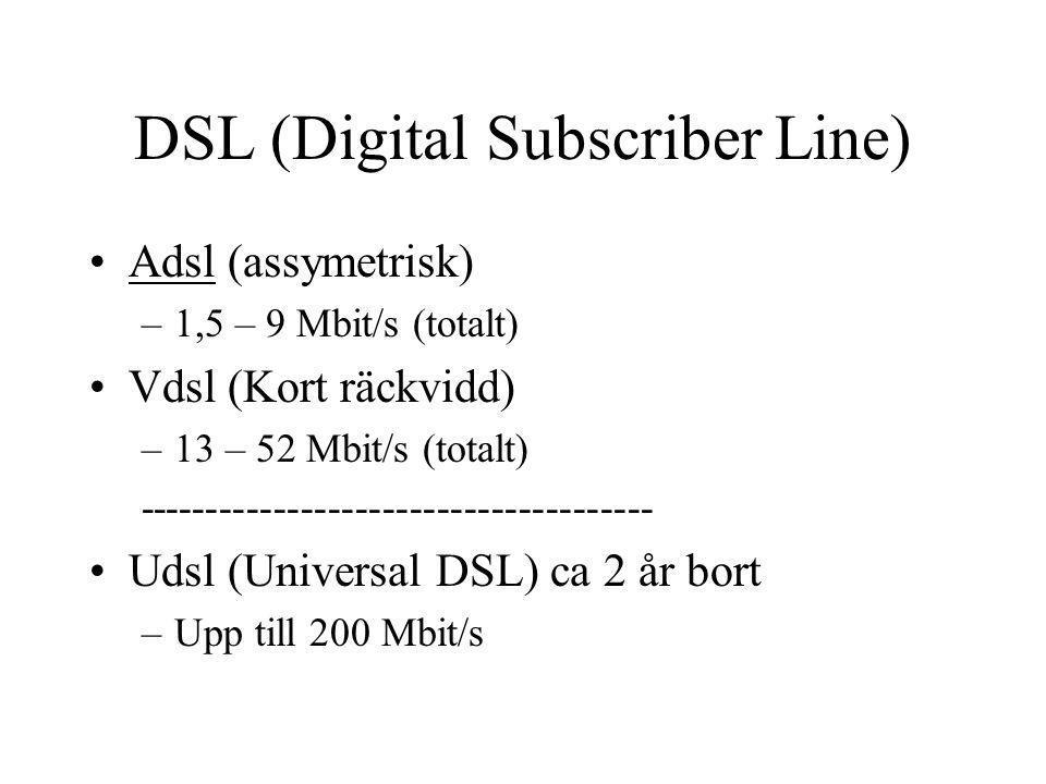 DSL (Digital Subscriber Line) Adsl (assymetrisk) –1,5 – 9 Mbit/s (totalt) Vdsl (Kort räckvidd) –13 – 52 Mbit/s (totalt) ------------------------------