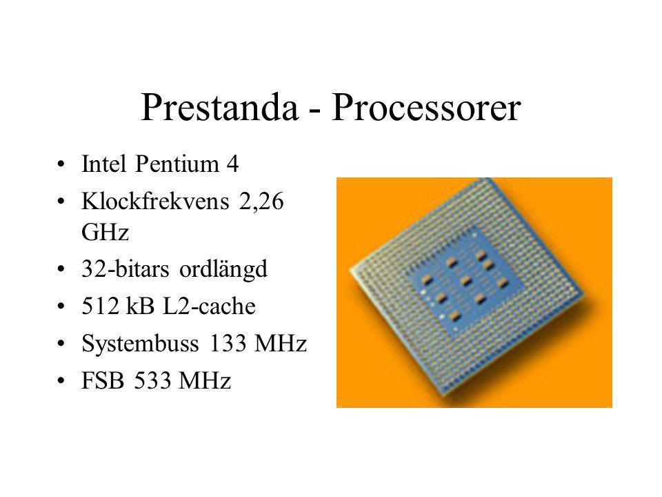 Prestanda - Processorer Intel Pentium 4 Klockfrekvens 2,26 GHz 32-bitars ordlängd 512 kB L2-cache Systembuss 133 MHz FSB 533 MHz