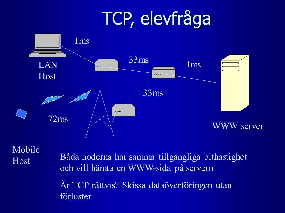 TCP, elevfråga LAN Host Mobile Host WWW server 1ms 33ms 72ms Båda noderna har samma tillgängliga bithastighet och vill hämta en WWW-sida på servern Är TCP rättvis.