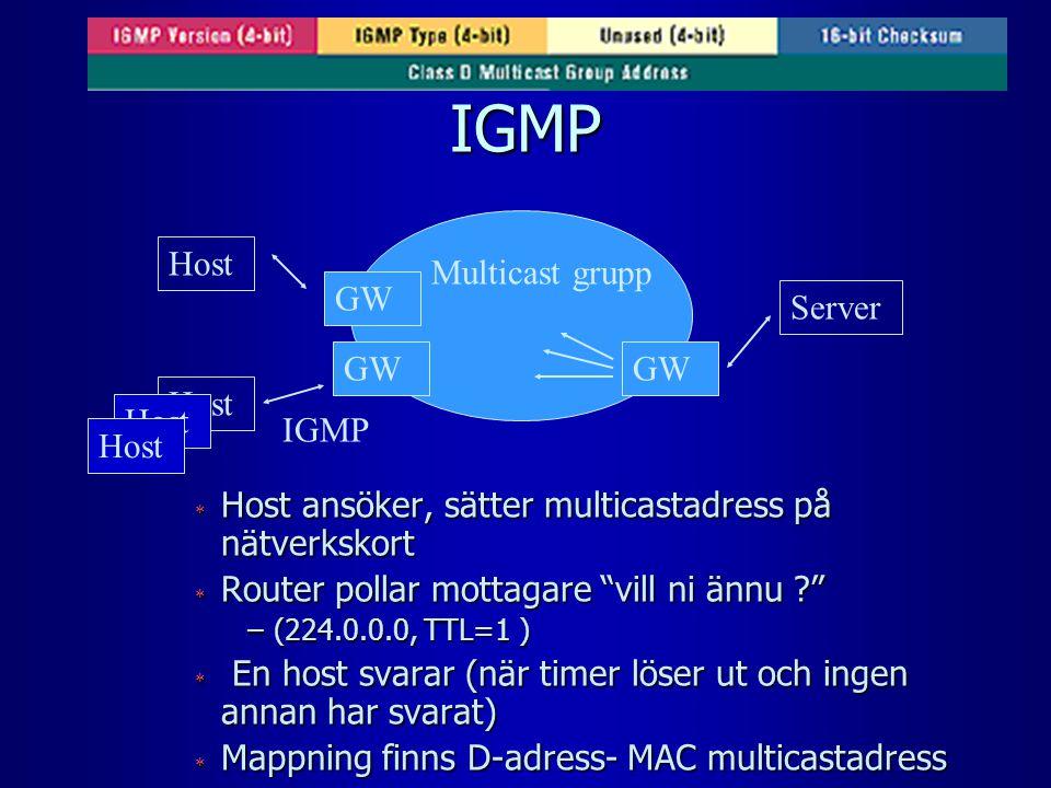 IGMP  Host ansöker, sätter multicastadress på nätverkskort  Router pollar mottagare vill ni ännu –(224.0.0.0, TTL=1 )  En host svarar (när timer löser ut och ingen annan har svarat)  Mappning finns D-adress- MAC multicastadress Host Multicast grupp Server IGMP GW Host