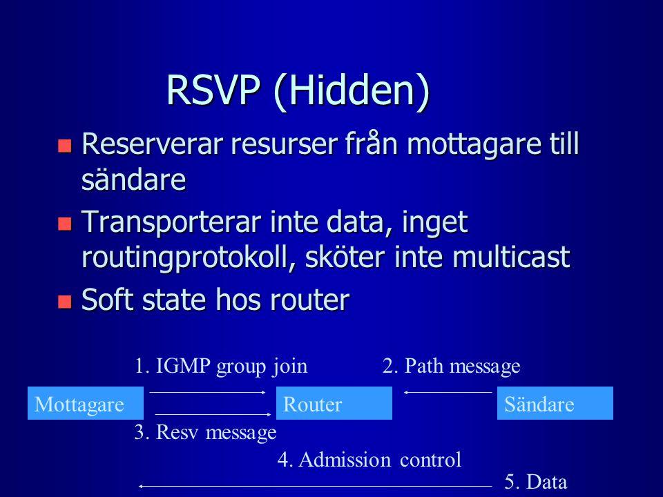 RSVP (Hidden) n Reserverar resurser från mottagare till sändare n Transporterar inte data, inget routingprotokoll, sköter inte multicast n Soft state hos router MottagareRouterSändare 1.